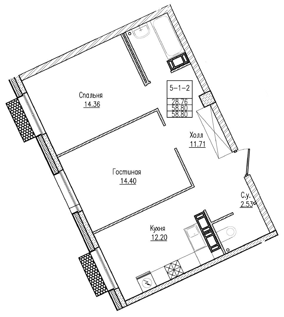 Планировка Двухкомнатная квартира площадью 58.8 кв.м в ЖК «Esper Club»