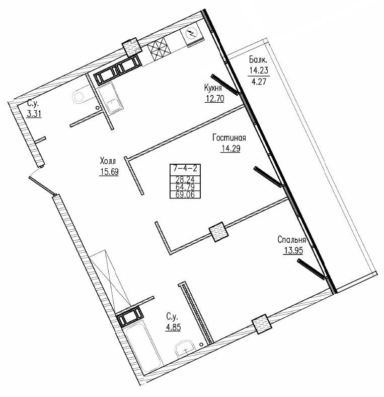 Планировка Двухкомнатная квартира площадью 69.06 кв.м в ЖК «Esper Club»