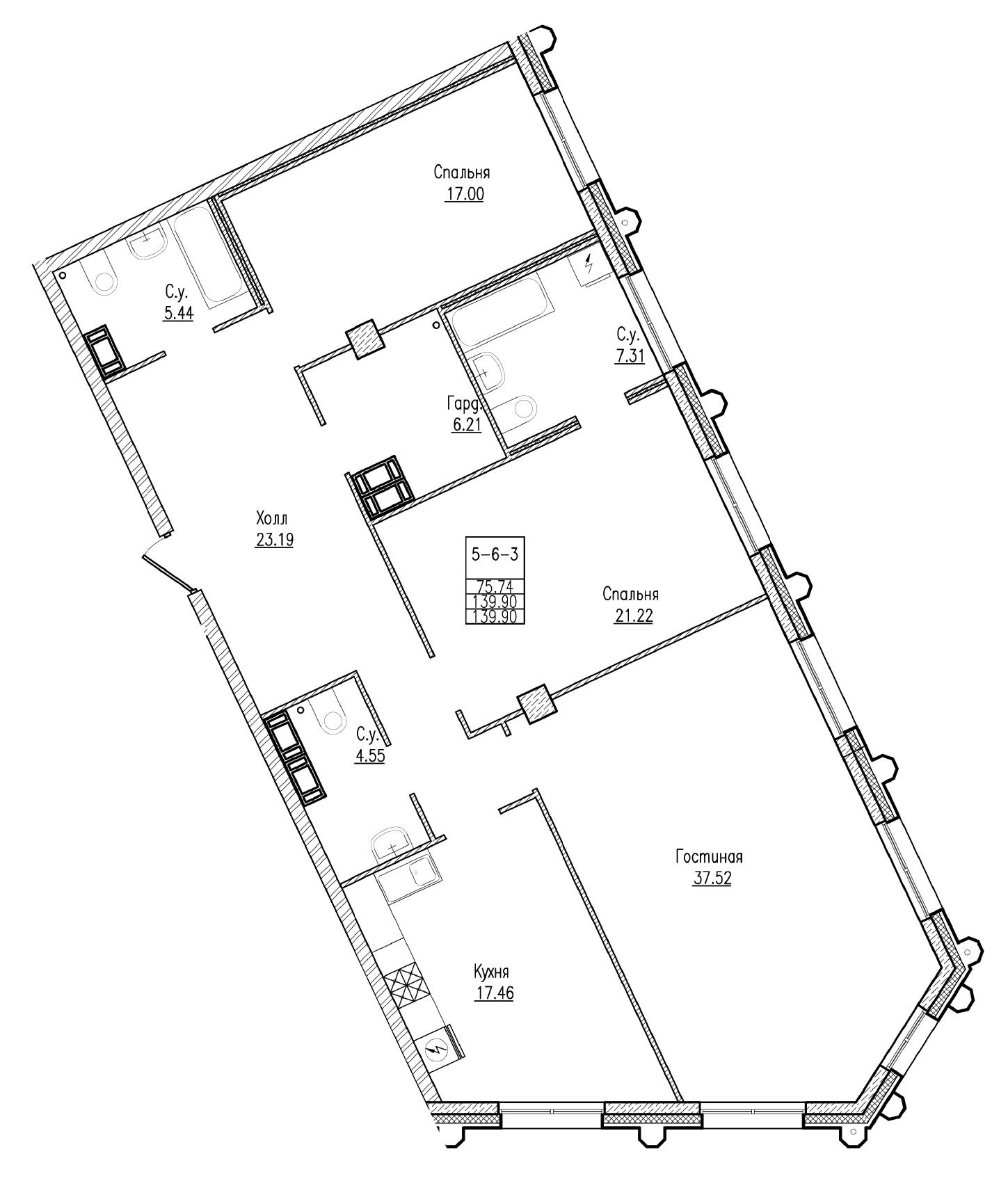 Планировка Трёхкомнатная квартира площадью 139.9 кв.м в ЖК «Esper Club»
