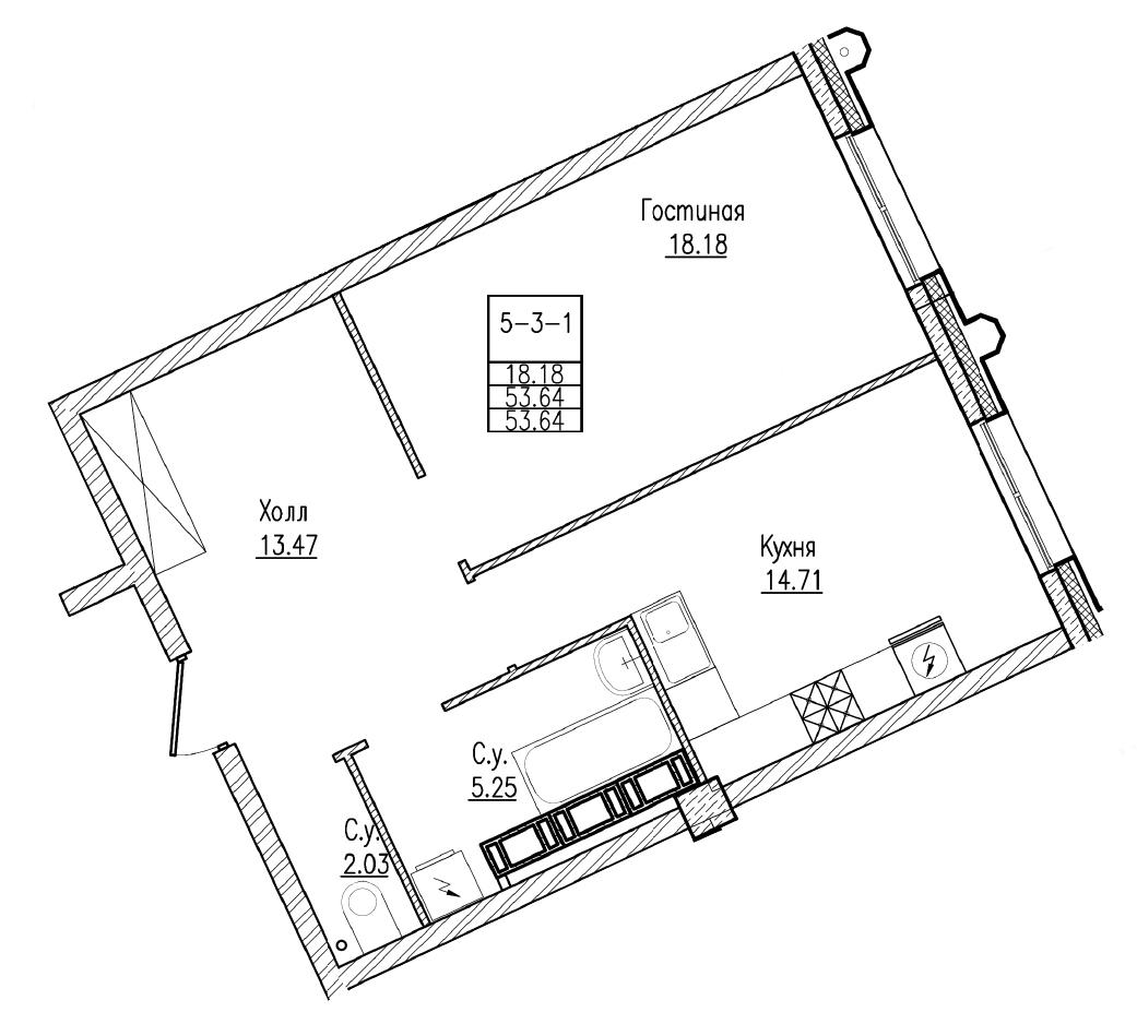 Планировка Однокомнатная квартира площадью 53.64 кв.м в ЖК «Esper Club»