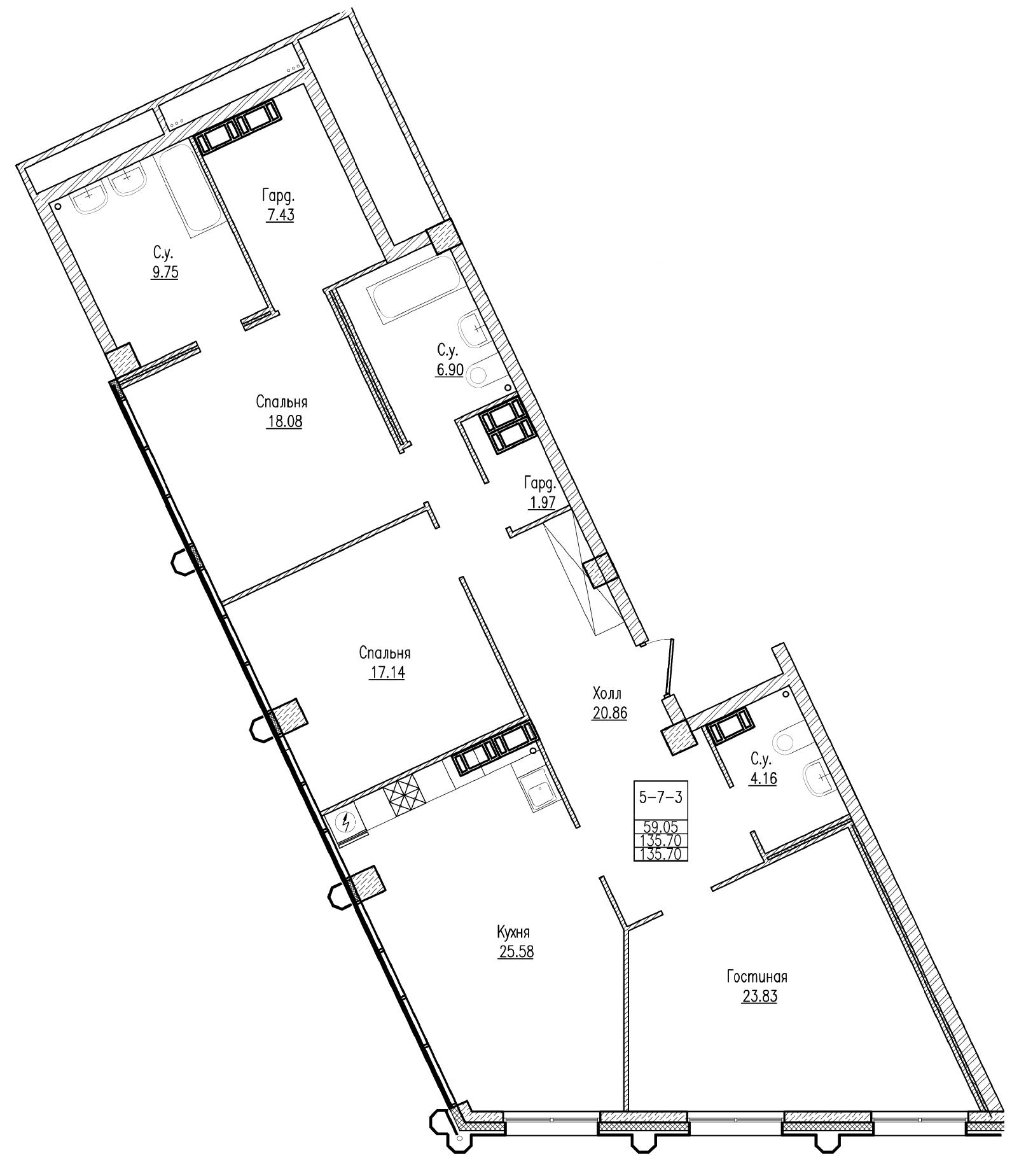 Планировка Трёхкомнатная квартира площадью 135.7 кв.м в ЖК «Esper Club»