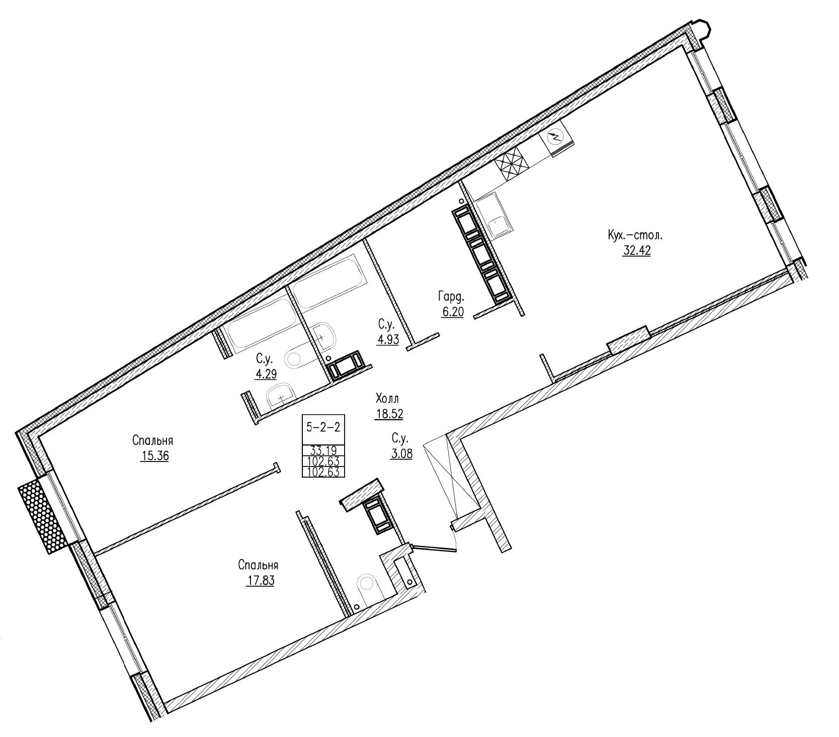 Планировка Двухкомнатная квартира площадью 102.63 кв.м в ЖК «Esper Club»