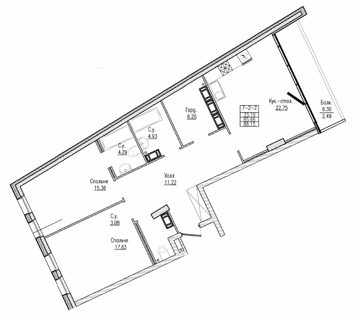 Планировка Двухкомнатная квартира площадью 88.15 кв.м в ЖК «Esper Club»